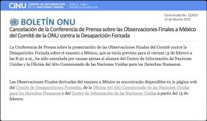 Cancelado CINU ONU