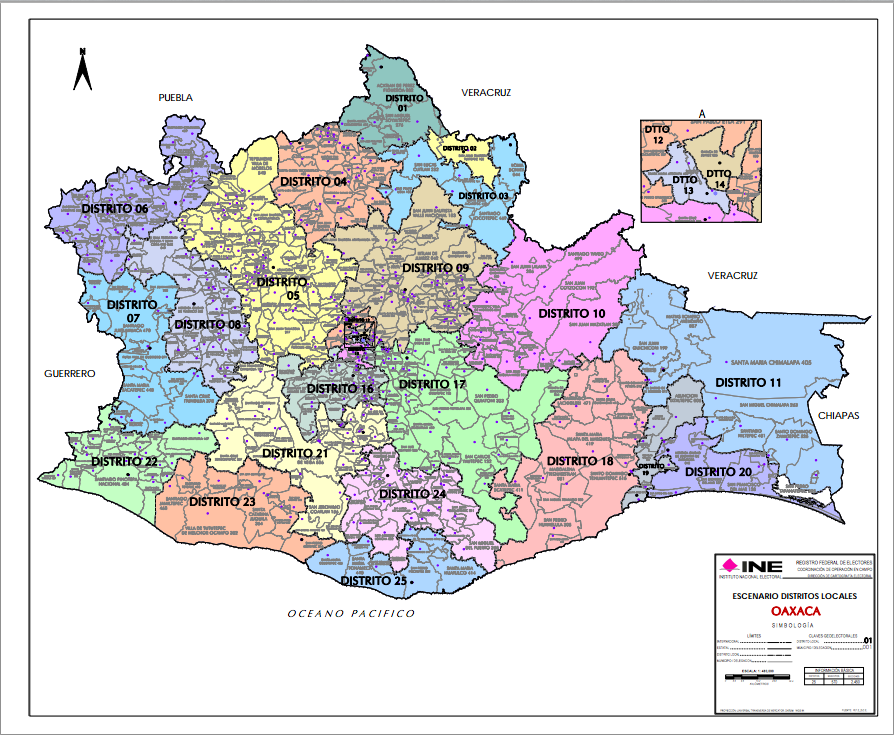 Mapa Distritación Electoral Oaxaca