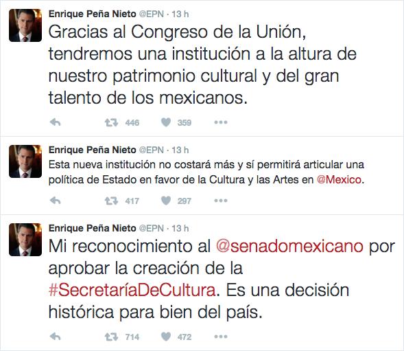 Twitts Peña Nieto Secretaría de Cultura