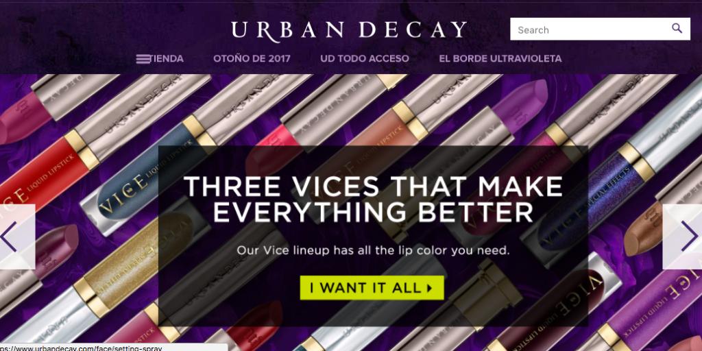 Página Urban Decay