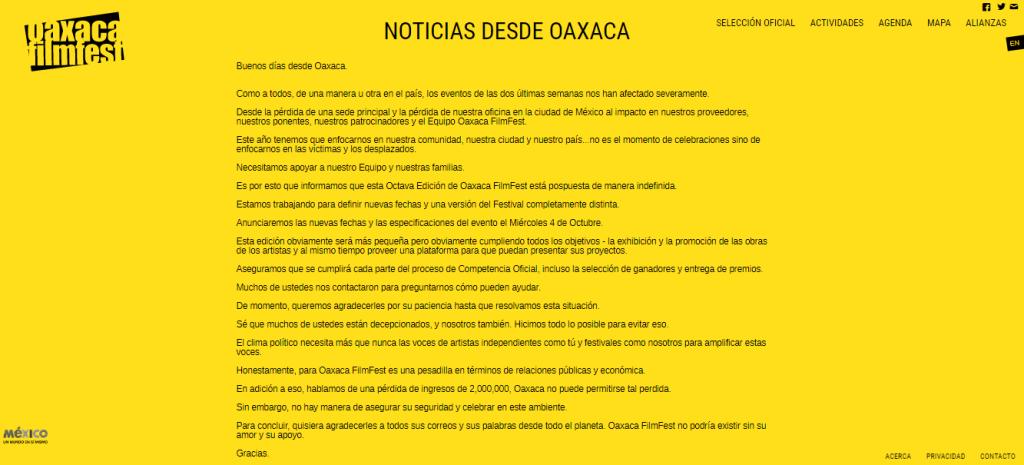 Comunicado de Oaxaca FilmFest