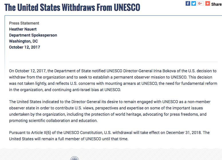 Comunicado State Department UNESCO Captura de pantalla 2017-10-12 a la(s) 12.23.50